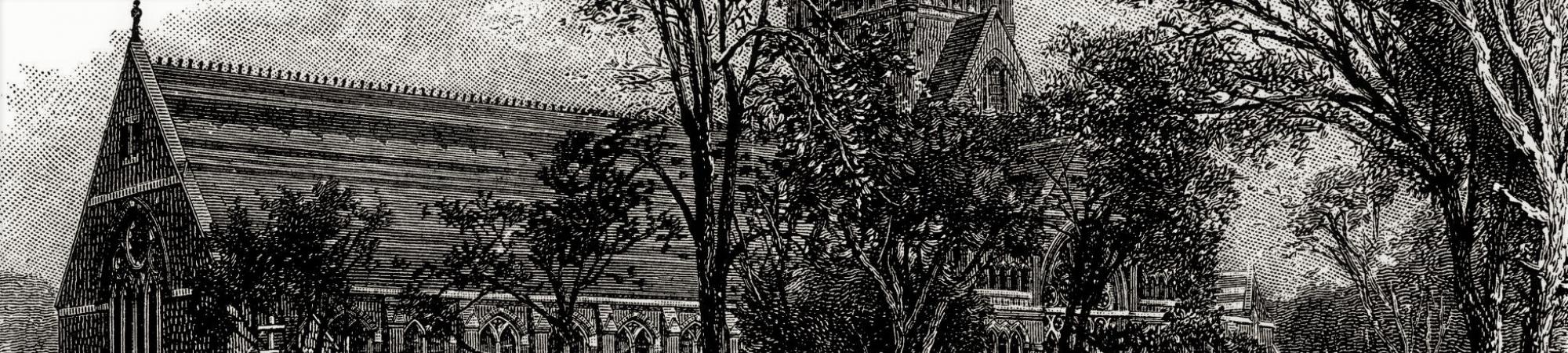 Harvard, Memorial Hall - antique illustration